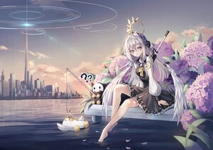 Rating: Safe Score: 28 Tags: animal azusa_(blue_archive) barefoot bird blue_archive building city clouds dress flowers gray_eyes gray_hair gun halo long_hair prothymos sky water weapon wings User: BattlequeenYume