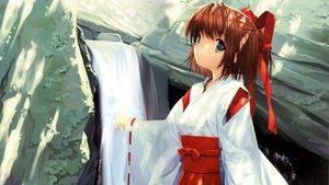 Rating: Safe Score: 27 Tags: japanese_clothes miko mikomai misaka_natsuki ribbons ueda_ryou water waterfall User: Oyashiro-sama