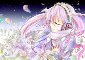 Rating: Safe Score: 44 Tags: flowers hatsune_miku headphones petals pink_hair shunsuke snow twintails vocaloid User: opai
