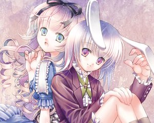 Rating: Safe Score: 39 Tags: alice_(wonderland) alice_in_wonderland animal_ears dress plastic_moon_(pixiv) white_rabbit User: Katsumi