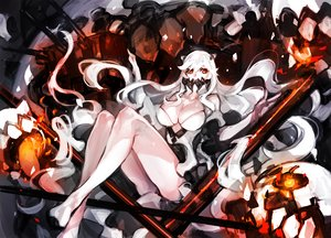 Rating: Safe Score: 90 Tags: anthropomorphism breasts cleavage dakuro kantai_collection long_hair midway_hime red_eyes white_hair User: Flandre93