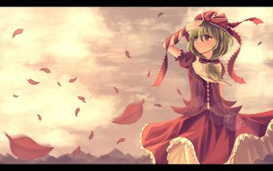 Rating: Safe Score: 41 Tags: aya_(star) bow clouds dress green_eyes green_hair kagiyama_hina landscape leaves scenic sky touhou User: STORM