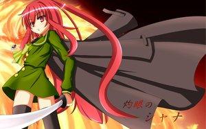 Rating: Safe Score: 28 Tags: blush fire katana long_hair red_eyes red_hair school_uniform shakugan_no_shana shana sword thighhighs weapon User: Tensa