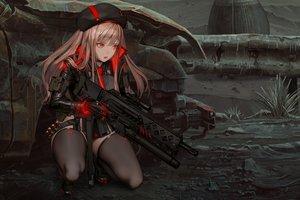 Rating: Safe Score: 145 Tags: brown_hair gun hat long_hair nightmadness orange_eyes thighhighs weapon User: RyuZU