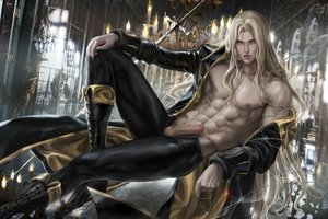 Rating: Explicit Score: 20 Tags: all_male blonde_hair fang long_hair male nipples open_shirt original penis realistic sakimichan uncensored vampire watermark yellow_eyes User: BattlequeenYume