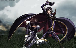 Rating: Safe Score: 52 Tags: cape clouds code_geass gun jpeg_artifacts kururugi_suzaku lelouch_lamperouge weapon User: Chiyu