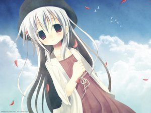 Rating: Safe Score: 26 Tags: animal bird hat long_hair red_eyes siro sky white_hair User: Maboroshi