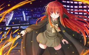 Rating: Safe Score: 123 Tags: building cape city fire kazenokaze long_hair necklace night red_eyes red_hair school_uniform shakugan_no_shana shana sword thighhighs weapon zettai_ryouiki User: gnarf1975