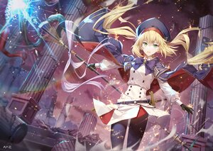 Rating: Safe Score: 63 Tags: artoria_pendragon_(all) artoria_pendragon_(caster) blonde_hair bow cape fate/grand_order fate_(series) gabiran gloves hat long_hair ruins signed staff sword twintails weapon User: BattlequeenYume