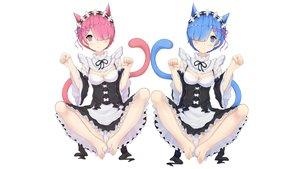 Rating: Questionable Score: 102 Tags: animal_ears aqua_eyes aqua_hair barefoot cameltoe catgirl maid panties pink_eyes pink_hair ram_(re:zero) rem_(re:zero) re:zero_kara_hajimeru_isekai_seikatsu spread_legs tagme_(artist) twins underwear User: gnarf1975
