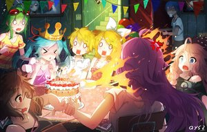 Rating: Safe Score: 181 Tags: aqua_hair bai_yemeng blonde_hair blue_eyes blue_hair breasts brown_hair cake cleavage crown fire food goggles green_hair group gumi hatsune_miku ia kagamine_len kagamine_rin kaito long_hair male megurine_luka meiko pink_hair red_eyes short_hair signed stairs twintails vocaloid User: RyuZU