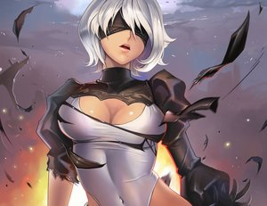 Rating: Safe Score: 89 Tags: blindfold breasts cleavage cropped dantewontdie gloves leotard nier nier:_automata short_hair torn_clothes white_hair yorha_unit_no._2_type_b User: SciFi