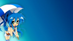 Rating: Safe Score: 56 Tags: blue blue_hair izumi_konata long_hair lucky_star panties shorts umbrella underwear User: Heledir
