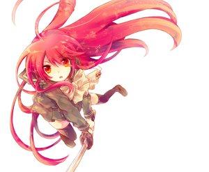 Rating: Safe Score: 133 Tags: katana red_eyes red_hair shakugan_no_shana shana sword weapon white User: Animenz
