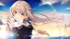 Rating: Safe Score: 57 Tags: blonde_hair blue_eyes close clouds gloves long_hair original scarf sky veryberry00 User: BattlequeenYume