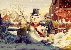Rating: Safe Score: 54 Tags: all_male animal bird hat male noeyebrow_(mauve) original scarf shorts signed snow snowman socks tree winter User: RyuZU