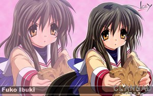 Rating: Safe Score: 15 Tags: brown_hair clannad ibuki_fuuko key logo long_hair seifuku yellow_eyes zoom_layer User: Oyashiro-sama