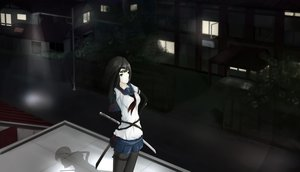 Rating: Safe Score: 42 Tags: black_hair katana kikivi skirt sword weapon User: RoronoAxMihawK