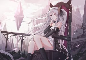 Rating: Safe Score: 106 Tags: building dress gray_hair horns long_hair original red_eyes touhourh User: BattlequeenYume