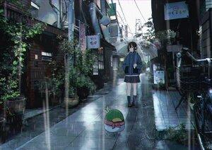 Rating: Safe Score: 22 Tags: bicycle building original rain sakeharasu scenic umbrella water User: FormX