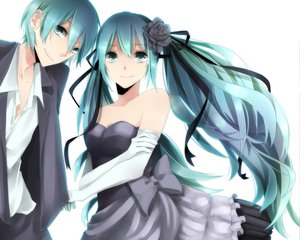 Rating: Safe Score: 114 Tags: aqua_hair dress hatsune_miku hatsune_mikuo twintails vocaloid white User: HawthorneKitty