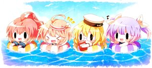 Rating: Safe Score: 18 Tags: anthropomorphism black_eyes blonde_hair book chibi clouds fang glasses group haru431 hat i-168_(kancolle) i-19_(kancolle) i-58_(kancolle) i-8_(kancolle) kantai_collection long_hair music pink_hair ponytail purple_hair red_hair school_swimsuit school_uniform short_hair sky swim_ring swimsuit twintails waifu2x water User: otaku_emmy