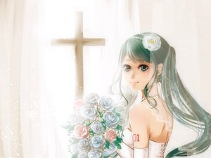 Rating: Safe Score: 39 Tags: cross elbow_gloves flowers green_eyes green_hair hatsune_miku long_hair necklace noboes vocaloid wedding_dress User: FormX