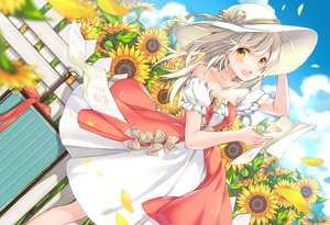 Rating: Safe Score: 48 Tags: clouds dress flowers hat juna long_hair original paper petals sky summer sunflower white_hair yellow_eyes User: luckyluna
