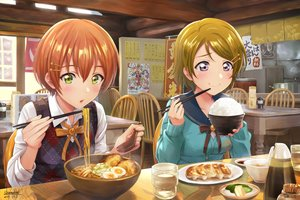 Rating: Safe Score: 63 Tags: blush brown_hair food green_eyes hoshizora_rin koizumi_hanayo love_live!_school_idol_project orange_hair purple_eyes reflection seifuku shamakho short_hair signed User: RyuZU