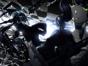 Rating: Safe Score: 157 Tags: black_hair black_rock_shooter blue_eyes green_eyes katana kuroi_mato rituiti short_hair shorts sword takanashi_yomi weapon User: Maboroshi