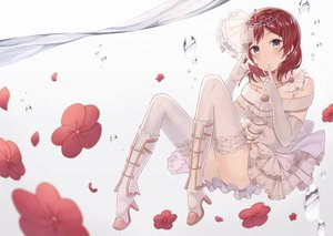 Rating: Safe Score: 72 Tags: boots dress elbow_gloves flowers gloves gray_eyes headdress love_live!_school_idol_project nagitoki nishikino_maki red_hair short_hair thighhighs tiara underwater water User: mattiasc02