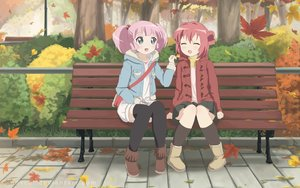 Rating: Safe Score: 97 Tags: 2girls akaza_akari aqua_eyes autumn boots leaves novcel park pink_hair red_hair short_hair shoujo_ai thighhighs twintails watermark yoshikawa_chinatsu yuru_yuri User: mattiasc02