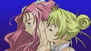 Rating: Safe Score: 9 Tags: 2girls aeru aqua_eyes blonde_hair kiss long_hair neviril pink_hair simoun vector User: lynx