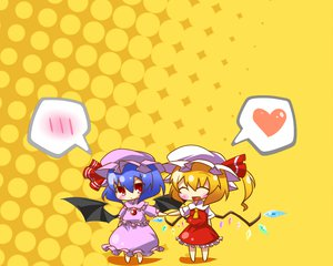 Rating: Safe Score: 35 Tags: 2girls blonde_hair blue_hair blush chibi fang flandre_scarlet haipa_okara hat ponytail red_eyes remilia_scarlet short_hair touhou vampire wings User: PAIIS