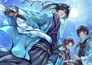 Rating: Questionable Score: 19 Tags: hakuouki_shinsengumi_kitan hijikata_toshizou japanese_clothes katana kimono okita_souji saitou_hajime sword weapon User: SennoMakoto