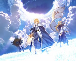 Rating: Safe Score: 89 Tags: armor blonde_hair boots braids cape clouds elbow_gloves fate/apocrypha fate/grand_order fate/stay_night grass gray_eyes green_eyes jeanne_d'arc jeanne_d'arc_(fate/apocrypha) long_hair pink_hair purple_eyes saber short_hair sky spear sword takeuchi_takashi thighhighs type-moon weapon User: Wiresetc
