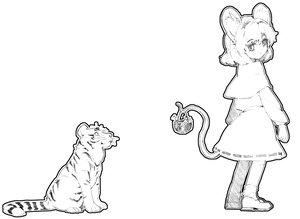 Rating: Safe Score: 22 Tags: animal animal_ears gianoa monochrome mouse mousegirl nazrin sketch tail tiger toramaru_shou touhou User: PAIIS