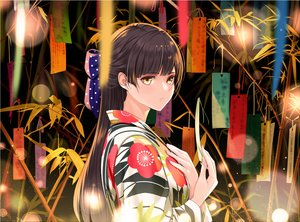 Rating: Safe Score: 56 Tags: bow brown_hair giba_(out-low) japanese_clothes long_hair original yellow_eyes User: RyuZU