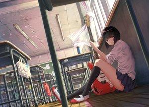 Rating: Safe Score: 74 Tags: black_hair guitar instrument kneehighs k_ryo original red_eyes seifuku short_hair User: Kiho