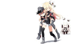 Rating: Safe Score: 62 Tags: aircraft_carrier_hime anthropomorphism bismarck_(kancolle) blonde_hair breasts chibi elbow_gloves gloves haribote_(tarao) hat kantai_collection long_hair prinz_eugen_(kancolle) purple_eyes red_eyes skirt tears thighhighs torn_clothes white white_hair User: RyuZU