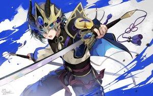 Rating: Safe Score: 30 Tags: all_male armor blue_eyes fate/grand_order fate_(series) gao_changgong gloves gray_hair headdress hirai_yuzuki horns male short_hair signed sword waifu2x weapon User: otaku_emmy