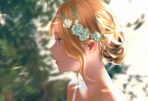 Rating: Safe Score: 41 Tags: aqua_eyes blonde_hair close flowers headdress litra original short_hair User: RyuZU
