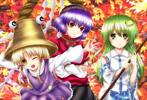 Rating: Safe Score: 25 Tags: akuriru autumn blonde_hair blue_hair green_eyes green_hair hat japanese_clothes kochiya_sanae leaves miko moriya_suwako red_eyes rope touhou wink yasaka_kanako yellow_eyes User: gnarf1975
