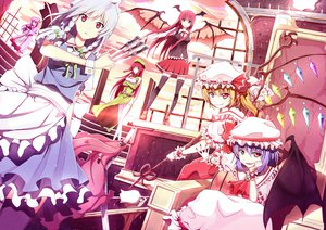 Rating: Safe Score: 94 Tags: blonde_hair book bow braids dress elbow_gloves fang flandre_scarlet group hat hong_meiling izayoi_sakuya knife koakuma long_hair maid patchouli_knowledge purple_hair red_eyes red_hair remilia_scarlet ribbons riki-to short_hair skirt spear stairs thighhighs tie touhou weapon white_hair wings User: gnarf1975