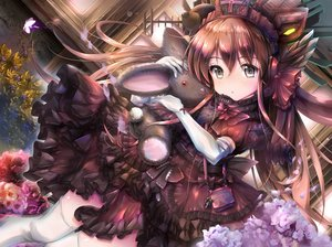 Rating: Safe Score: 79 Tags: brown_hair bunny butterfly dress elbow_gloves flowers gc3 gloves goth-loli gray_eyes hat headdress loli lolita_fashion long_hair microphone original teddy_bear thighhighs User: Nepcoheart
