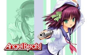 Rating: Safe Score: 64 Tags: angel_beats! aqua_eyes gun nakamura_yuri purple_hair school_uniform weapon User: pantu