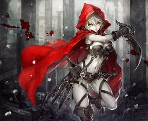 Rating: Safe Score: 441 Tags: armor blood breasts cape cleavage hoodie little_red_riding_hood navel original red_riding_hood senano-yu sword weapon white_hair yellow_eyes User: Flandre93