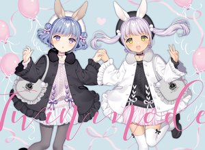 Rating: Safe Score: 31 Tags: 2girls animal_ears blue_hair bunny_ears choker cross dress gray_hair green_eyes hat long_hair original pantyhose purple_eyes short_hair thighhighs twintails waifu2x wasabi_(sekai) zettai_ryouiki User: otaku_emmy