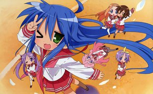 Rating: Safe Score: 3 Tags: blue_hair glasses green_eyes hiiragi_kagami hiiragi_tsukasa horiguchi_yukiko izumi_konata kusakabe_misao lucky_star minegishi_ayano pink_hair purple_hair school_uniform takara_miyuki wink User: Oyashiro-sama