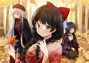 Rating: Safe Score: 32 Tags: animal autumn black_hair blue_eyes blue_hair blush bow braids cat choker forest glasses hat higuchi_kaede japanese_clothes kimono kurot leaves long_hair nijisanji purple_eyes shizuka_rin short_hair skirt tree tsukino_mito twintails white_hair yellow_eyes User: BattlequeenYume